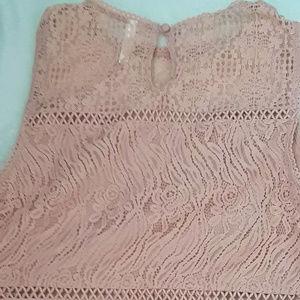 Xhilaration Tops - Xhilaration Peach Two Piece Set Lace Pattern Large